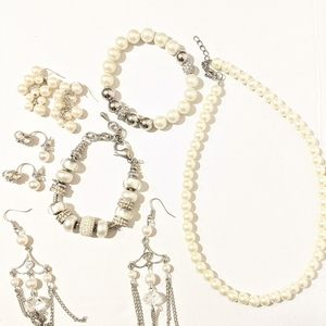 Jewelry - Silver Tone Faux Pearl's